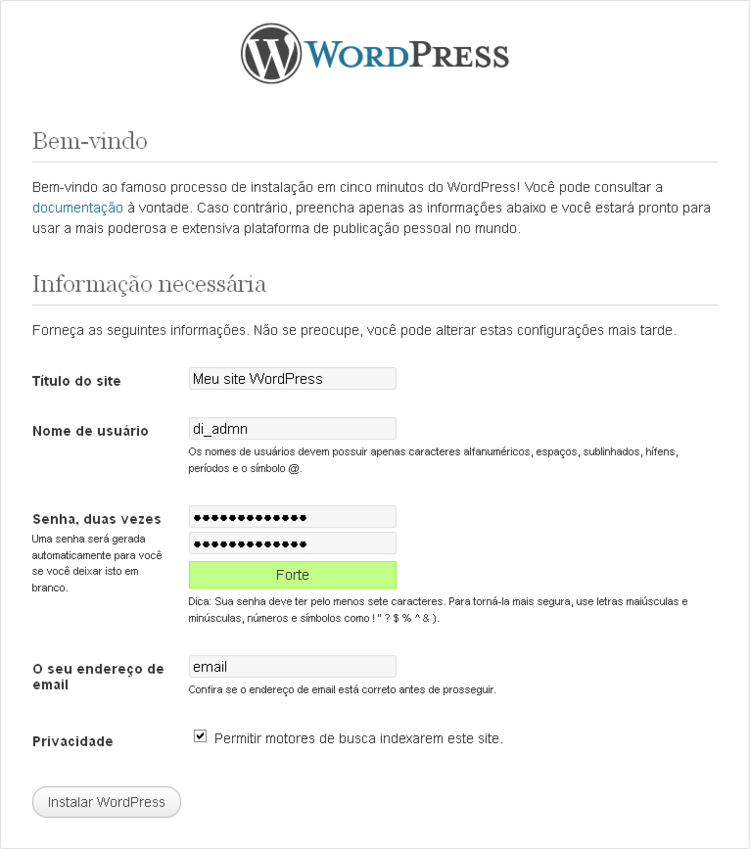 bem-vindo ao wordpress