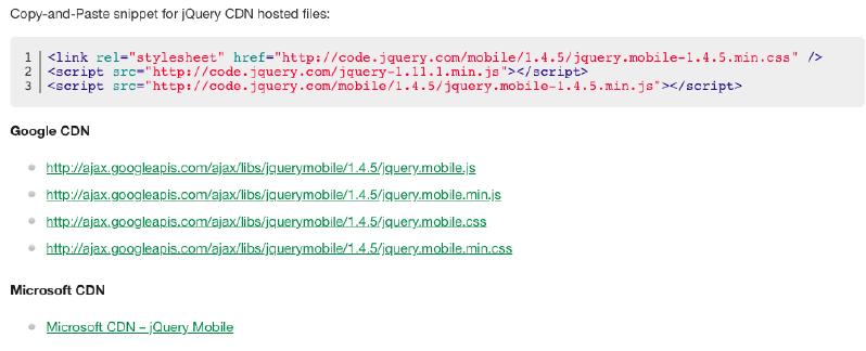Download da biblioteca jQuery via CDNs