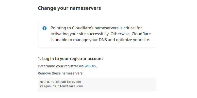 Aponte seu Domínio para os Nameservers do CloudFlare